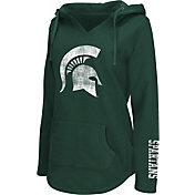 Colosseum Athletics Women's Michigan State Spartans Green Walkover V-Neck Hooded Pullover