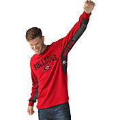 Hands High Men's Georgia Bulldogs Red Gridiron Thermal Long Sleeve Shirt
