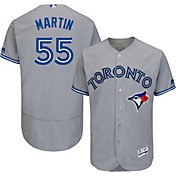 Majestic Men's Authentic Toronto Blue Jays Russell Martin #55 Road Grey Flex Base On-Field Jersey
