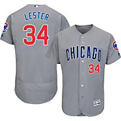 Majestic Men's Authentic Chicago Cubs Jon Lester #34 Road Grey Flex Base On-Field Jersey