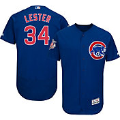 Majestic Men's Authentic Chicago Cubs Jon Lester #34 Alternate Royal Flex Base On-Field Jersey