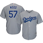 Majestic Men's Replica Los Angeles Dodgers Alex Wood #57 Cool Base Alternate Road Grey Jersey