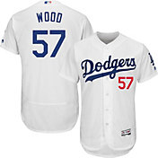 Majestic Men's Authentic Los Angeles Dodgers Alex Wood #57 Home White Flex Base On-Field Jersey