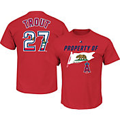 Majestic Men's Los Angeles Angels Mike Trout #27 Red State Flag T-Shirt