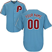 Majestic Men's Custom Cool Base Cooperstown Replica Philadelphia Phillies 80s Light Blue Jersey