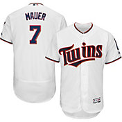 Majestic Men's Authentic Minnesota Twins Joe Mauer #7 Home White Flex Base On-Field Jersey