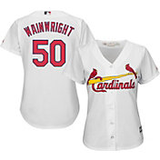 Majestic Women's Replica St. Louis Cardinals Adam Wainwright #50 Cool Base Home White Jersey