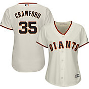 Majestic Women's Replica San Francisco Giants Brandon Crawford #35 Cool Base Home Ivory Jersey