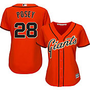 Majestic Women's Replica San Francisco Giants Buster Posey #28 Cool Base Alternate Orange Jersey
