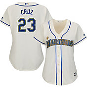 Majestic Women's Replica Seattle Mariners Nelson Cruz #23 Cool Base Home White Jersey