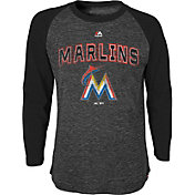 Majestic Youth Miami Marlins Black Raglan Long Sleeve Shirt