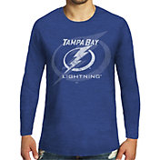 Majestic Threads Men's Tampa Bay Lightning Tri-Blend Royal Long Sleeve T-Shirt