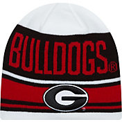 New Era Men's Georgia Bulldogs White/Black/Red Snow Top Knit Beanie