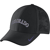 Nike Men's Colorado Rockies Dri-FIT Black Vapor Classic Swoosh Flex Fitted Hat