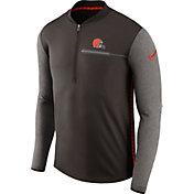 Nike Men's Cleveland Browns Sideline 2017 Coaches Brown Half-Zip Top