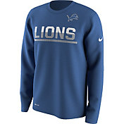 Nike Men's Detroit Lions Team Practice Performance Blue Long Sleeve Shirt