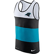 Nike Men's Carolina Panthers Wide Stripe Performance Black Tank Top