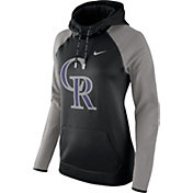 Nike Women's Colorado Rockies Grey Therma Pullover Hoodie