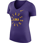 Nike Women's LSU Tigers Heathered Purple Dri-FIT Touch V-Neck T-Shirt