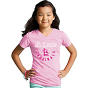 Soft As A Grape Youth Girls' St. Louis Cardinals Pink V-Neck Shirt
