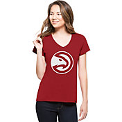 '47 Women's Atlanta Hawks Splitter Logo Red V-Neck T-Shirt