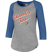 '47 Women's Oklahoma City Thunder Club Grey/Blue Three-Quarter Sleeve Shirt