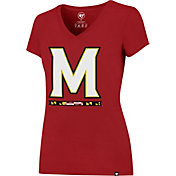 '47 Women's Maryland Terrapins Red Splitter V-Neck T-Shirt