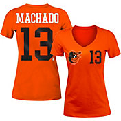 5th & Ocean Women's Baltimore Orioles Manny Machado #13 Orange Tri-Blend V-Neck T-Shirt