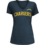 New Era Women's Los Angeles Chargers Block Rhinestone Navy T-Shirt