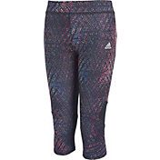 adidas Girls' Alpha Printed Tight Fit Capris