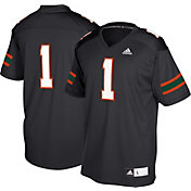 adidas Men's Miami Hurricanes Black #1 Replica Football Jersey