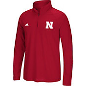 adidas Men's Nebraska Cornhuskers Scarlet Long Sleeve Performance Quarter-Zip Shirt