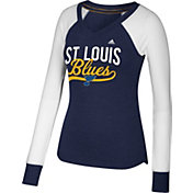 adidas Women's St. Louis Blues Elbow Patch Navy V-Neck Long Sleeve Shirt