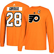 adidas Men's Philadelphia Flyers Claude Giroux #28 Orange Long Sleeve Shirt