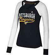 adidas Women's Pittsburgh Penguins Elbow Patch Black V-Neck Long Sleeve Shirt