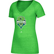adidas Women's Seattle Sounders Logo Green Heathered V-Neck T-Shirt