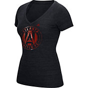 adidas Women's Atlanta United War Paint Black Heathered V-Neck T-Shirt
