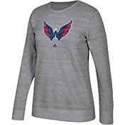 adidas Women's Washington Capitals Distressed Logo Heather Grey Sweatshirt