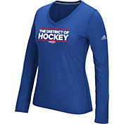 adidas Women's Washington Capitals Local Dassler Royal Performance V-Neck Long Sleeve Shirt