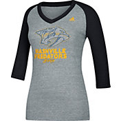 adidas Women's Nashville Predators Bling Heather Grey/Black 3/4 Sleeve V-Neck Shirt