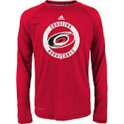 adidas Youth Carolina Hurricanes Practice Red Performance Long Sleeve Shirt