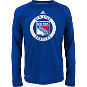 adidas Youth New York Rangers Practice Royal Performance Long Sleeve Shirt