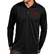 Antigua Men's Alabama Crimson Tide Black Exceed Long Sleeve Polo