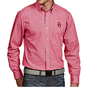 Antigua Men's Oklahoma Sooners Crimson Associate Button Down Long Sleeve Shirt