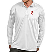 Antigua Men's Oklahoma Sooners White Exceed Long Sleeve Polo