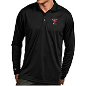 Antigua Men's Texas Tech Red Raiders Black Exceed Long Sleeve Polo