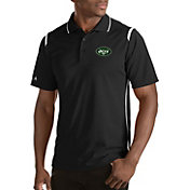 Antigua Men's New York Jets Merit Black Xtra-Lite Polo