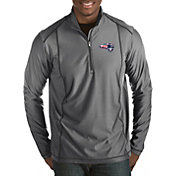 Antigua Men's New England Patriots Quick Snap Logo Tempo Grey Quarter-Zip Pullover