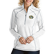 Antigua Women's Green Bay Packers Quick Snap Logo Tempo White Quarter-Zip Pullover