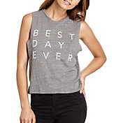 good hYOUman Women's Lili Best Day Ever Graphic Cropped Tank Top